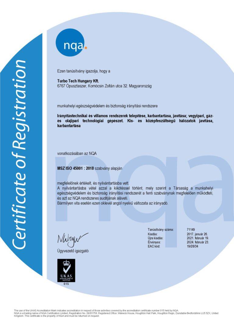 MSZ ISO 45001 : 2018 szabvány